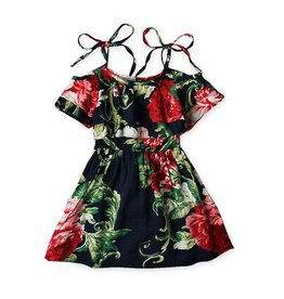 Navy Red Floral Dress