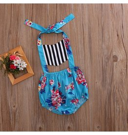 Blue Striped Floral Romper