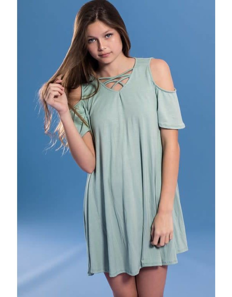 Pomelo Sage Cold Shoulder Dress