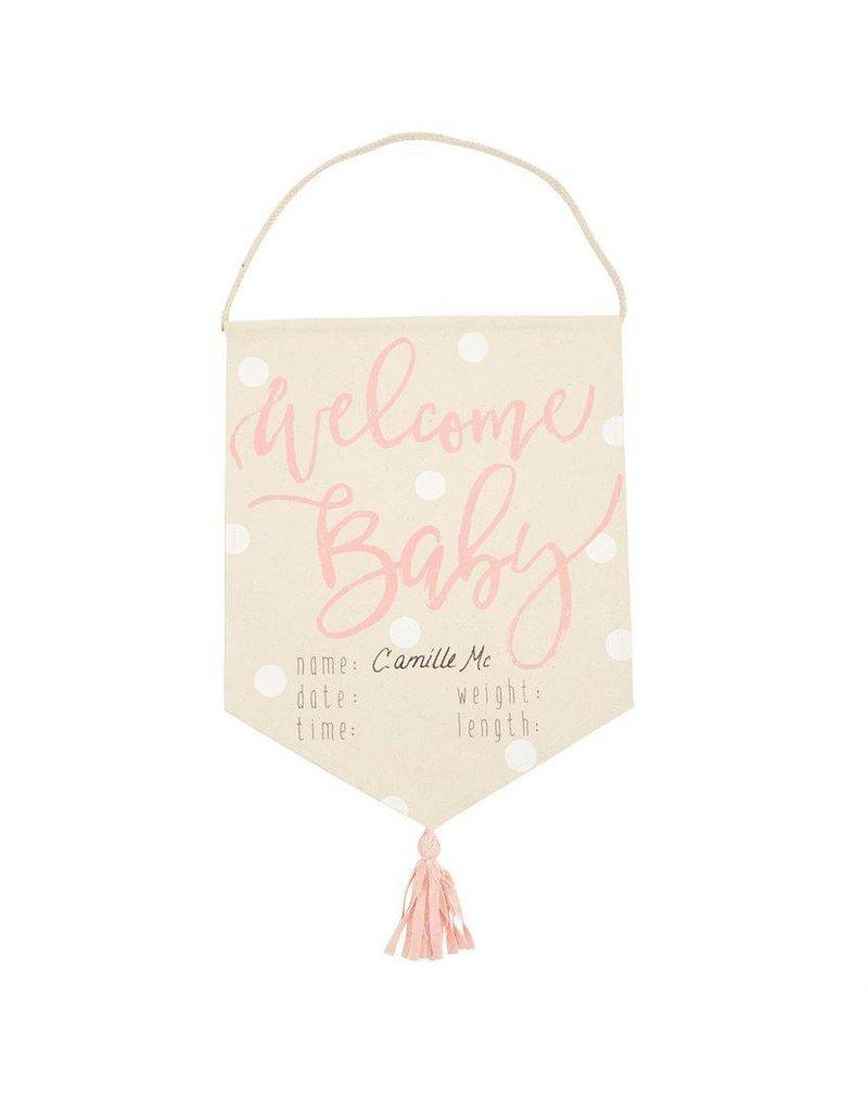 Mud Pie Pink Welcome Baby Tassel Banner