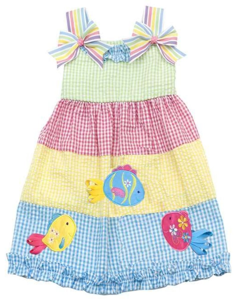 Rare Editions Lime/Pink/Turquoise Fish Dress