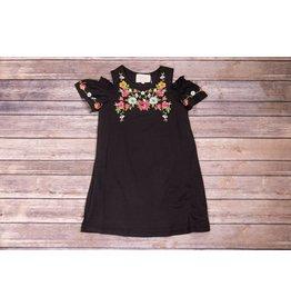 Hannah Bananna Black Floral Embroidered Cold Shoulder Dress