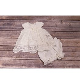 Isobella & Chloe Off White Eyelet Lace Dress and Bloomer