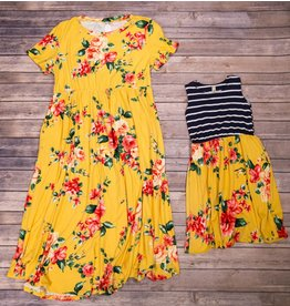 Pomelo Yellow Floral and Black Striped Dress