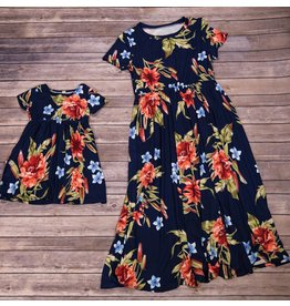 Pomelo Navy Blue Floral Cinch Waist Dress