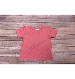 Frenchie Red Basic V-Neck Tee