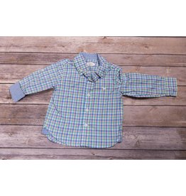 Frenchie Pastel Collared Plaid Print Button Up Shirt