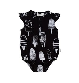Miles Baby Black and White Popsicle Flutter Sleeve Playsuit