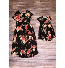 Pomelo Black Floral Cinch Waist Dress