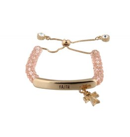 "Jane Marie Kids Adjustable Pink Faceted Beaded ""Faith"" with Cross Charm"
