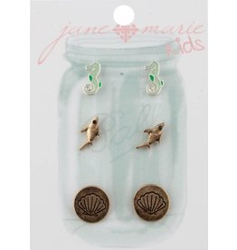Jane Marie 3 Pair Seahorse, Shark, Seashell Studs