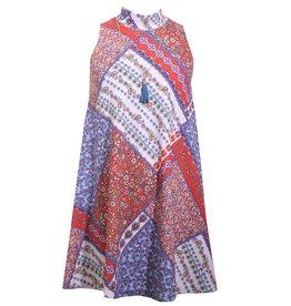 Bonnie Jean Floral Patchwork Dress with Tassel Necklace