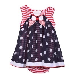 Bonnie Jean Patriotic Dots and Stripes Bow Dress