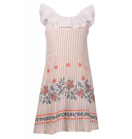 Bonnie Jean Ivory Stripe Floral Embroidered Dress