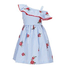 Rare Editions Red Floral Chambray Striped Dress