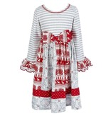 Bonnie Jean Grey, Silver And Red Damask Christmas Dress