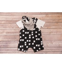 Kidding Around Black & White Shortall with Bib