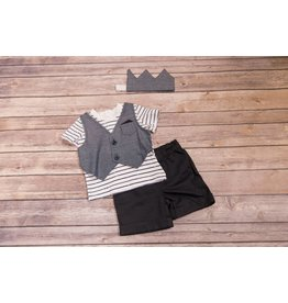 Kidding Around Mock Vest 3 Piece Outfit with Crown