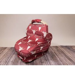 Maroon Floral Skull Car Seat & Handle Cover