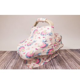 Tan Floral Headdress Car Seat & Handle Cover