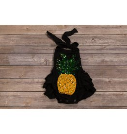 Black with Sequins Pineapple Ruffle Romper