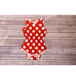 Red and White Polka Dot Pom Pom Romper