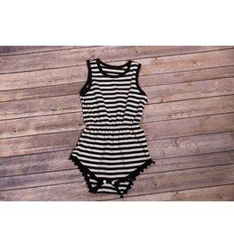 3ef1e816f59 Black and White Striped Pom Pom Romper