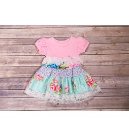 Pink and Aqua Tiered Dress with White Lace
