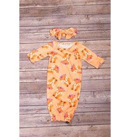 Orange Fox Gown and Headband 0-3M