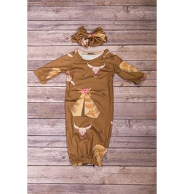 Brown Tee Pee Gown and Headband 0-3M