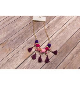 Purple & Pink Pom Pom Tassel Necklace