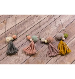 Pom and Yarn Tassel Neckalce