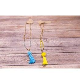 Bela & Nuni Single Tassel with Pom Necklace NK-22