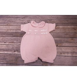 Baby's Trousseau Pink Knit Romper with White Silk Ribbon
