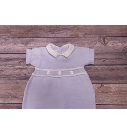 Baby's Trousseau Blue and White Collar and Button Knit Romper