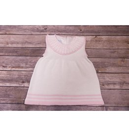 Baby's Trousseau White and Pink Knit Collared Dress
