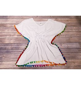 Lime Apple White Multi Color Pom-Pom Swim Cover Up