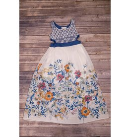 Bonnie Jean Blue Lace and Floral Dress with Open Sides