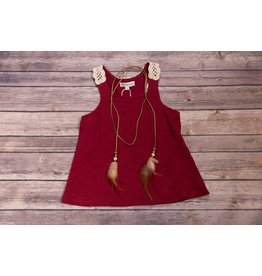 Idol Mind Kids Maroon Tank-Top with Ivory Crochet Lace Back