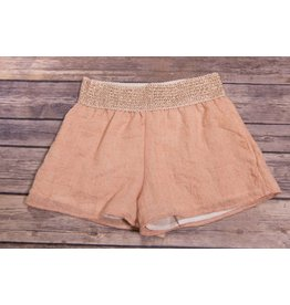 Tru Luv Rose Gold Gauze Shorts with Metallic Band