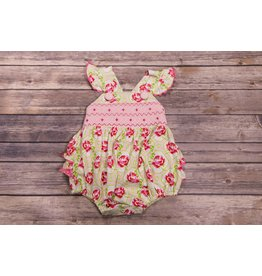 Banana Split Rose Garden Smocked Geo Ruffle Bubble