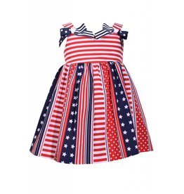 Bonnie Jean Star Spangled Dress with Double Bow