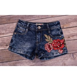 Mae Li Rose Flower Denim Shorts
