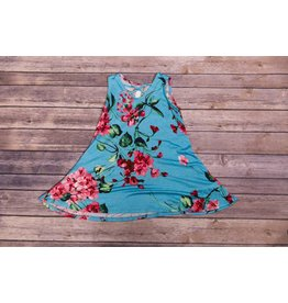 Pomelo Blue Floral Cross Neck Dress