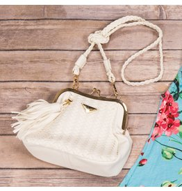 Popatu White Knitted Handbag