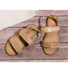 Rugged Bear Brown and Metallic Gold Sandals