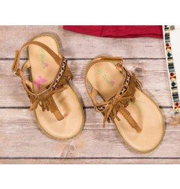 Petalia Brown Boho Fringe Sandals with Bow