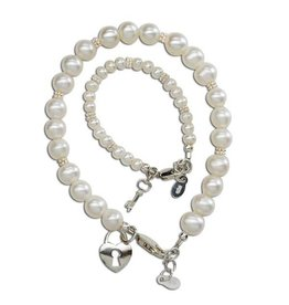 Cherished Moments Mom & Me Pearl Bracelet Set (KEY TO MY HEART)