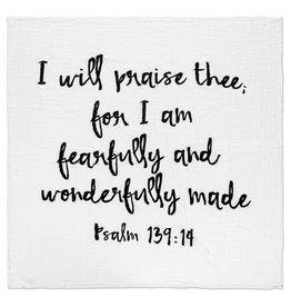 Modern Burlap Organic Cotton Swaddle, Psalm 139:14