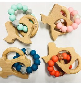 three hearts Texas Wooden Teething Rattle